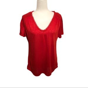 Modern Canvas Short Sleeve Shirt, Red, Size L